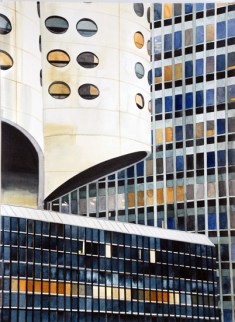Three Chicago Buildings, 2011 , watercolor on paper , 30 x 22 inches - Urban Architecture