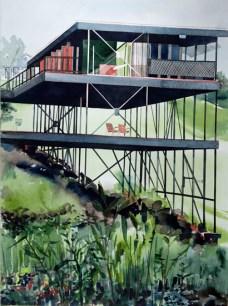 John Nash Anderson's Muir Dawson House, Silverlake 1956, 2011 , watercolor on paper , 30 x 22 inches - Urban Architecture