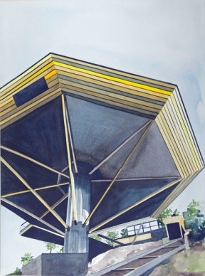 """John Lautner's """"Chemosphere"""" House, Los Angeles, CA 1965, 2012 , watercolor on paper , 30 x 22 inches - Urban Architecture"""