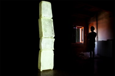 Atelier's Detail_Crystal suitcases_videoinstallation_60 x 300 x 30 cm_2013_photography by Andrea Liuzza