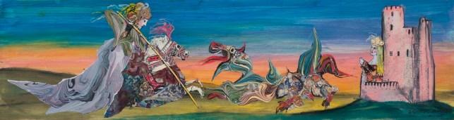 San Giorgio e il drago, 1987, pastello e collage su carta, cm 40 x 150