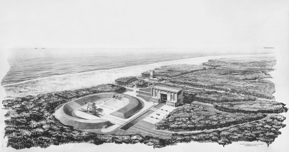 Walter Schlempp Army testing facilities, Peenemünde, launching site VII, general view, aerial perspective, 1942 Deutsches Museum, Munich