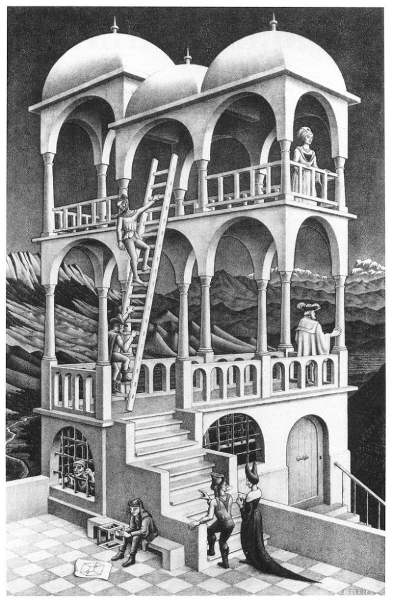 M.C. Escher, Belvedere,1958. Litografia, 462x295 mm.