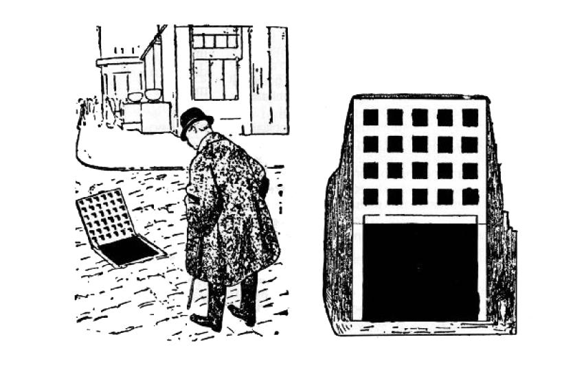 """Disegno satirico del 1911 per la facciata della Casa Goldman e Salatsch, realizzata da Loos nel 1910-1911. """"Meditando sull'arte, l'uomo davvero moderno passeggia per le strade. Di colpo si ferma impietrito: ha trovato ciò che aveva cercato così a lungo""""."""