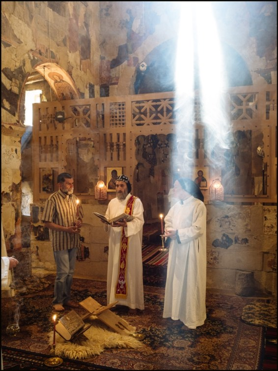 Syria, Nebek Desert. Mar-Musa Monastery. Sunday mass in the chapel