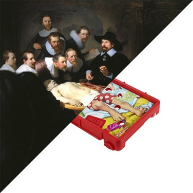 Rembrandt, The Anatomy Lesson of Dr. Nicolaes Tulp, 1632 VS Operation, Milton Bradley | Hasbro, 1965 – © Davide Trabucco, Confórmi