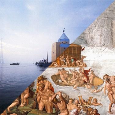 Aldo Rossi, Teatro del Mondo, Venezia, Italy, 1979 VS Michelangelo Buonarroti, The Deluge, Cappella Sistina, Roma, 1508-1512 – © Davide Trabucco, Confórmi