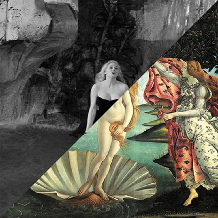 Federico Fellini, La dolce vita, 1960 VS Sandro Botticelli, Nascita di Venere, 1482-1485 – © Davide Trabucco, Confórmi
