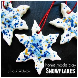 Arty Crafty Kids - Craft - Christmas Crafts for Kids -Home Made Clay and Melted Crayon Snowflakes