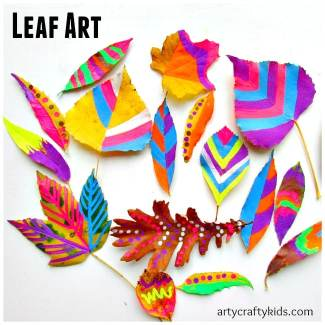 Arty Crafty Kids - Art - Art Ideas for Kids - Leaf Chalk Art