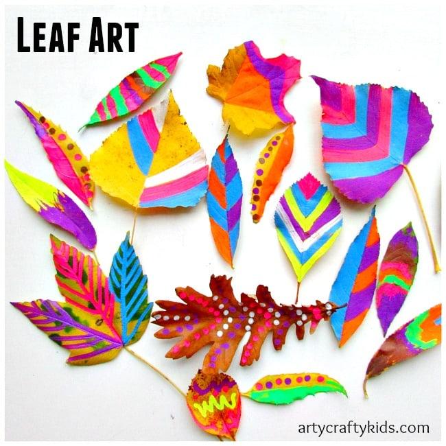 Arty Crafty Kids - Art - Art Ideas for Kids - Leaf Chalk Art