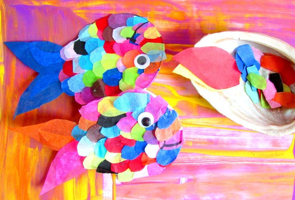 Tissue paper rainbow fish arty crafty kids for Rainbow fish craft