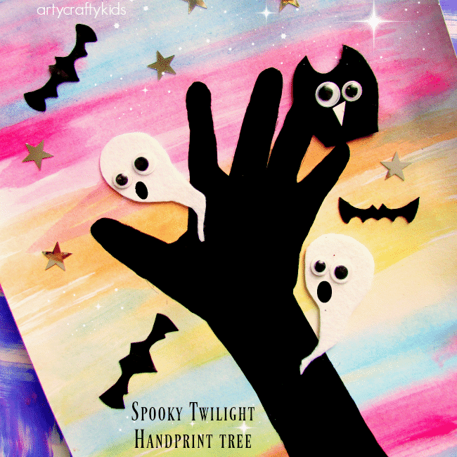 Arty Crafty Kids - Art - Easy Art Ideas for Kids - Spooky Twilight Handprint Tree