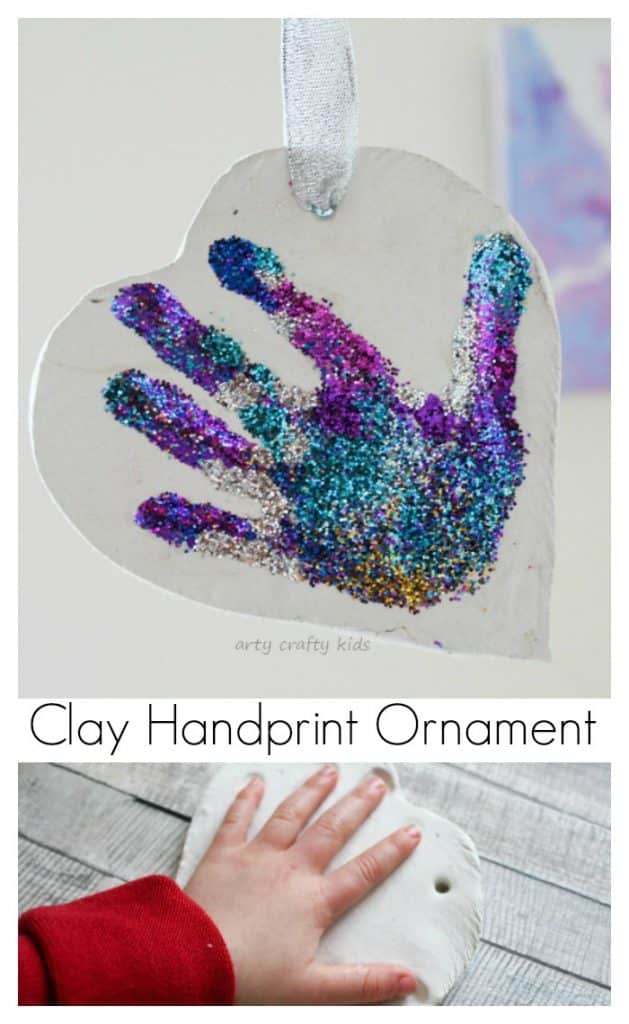 Glittery sparkly clay handprint ornament arty crafty kids for Glitter crafts for kids