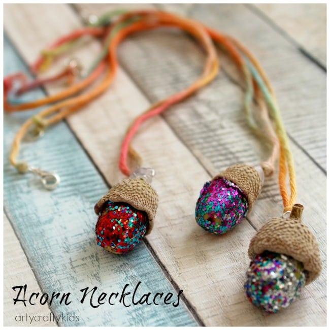 kids crafty necklace acorn craft nature feature arty necklaces