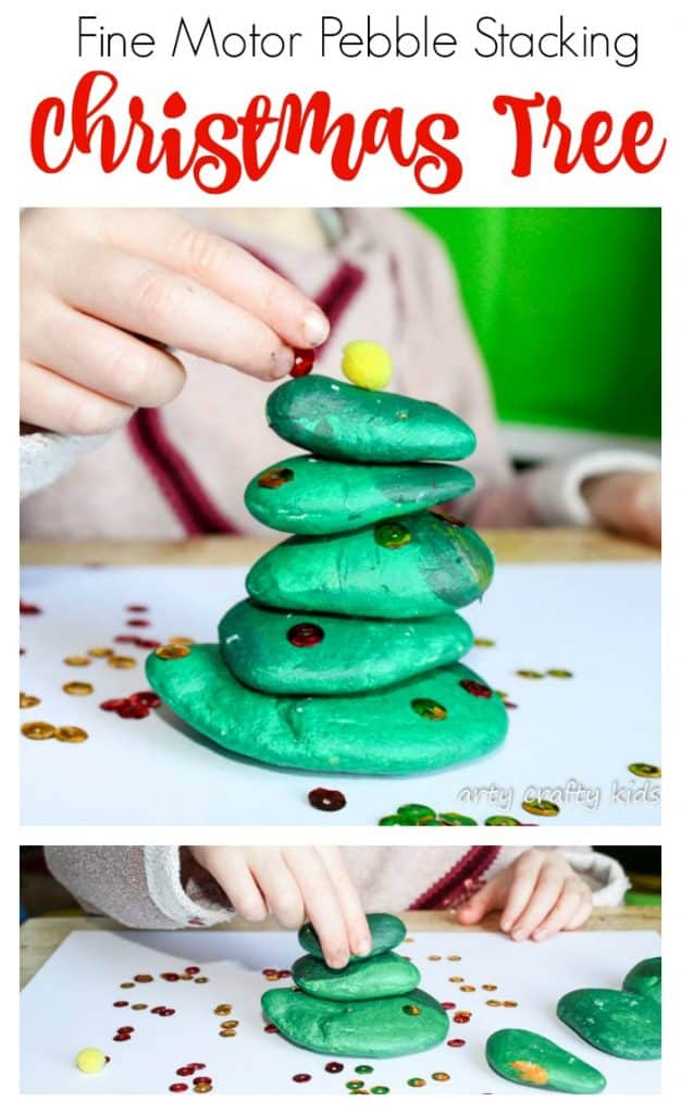 Arty Crafty Kids | Play | Fine Motor Pebble Stacking Christmas Tree | This pebble stacking fine motor Chrismas Tree activity is an awesome challenging game that encourages problem solving, hand eye-cordinaton and fine motor skills!