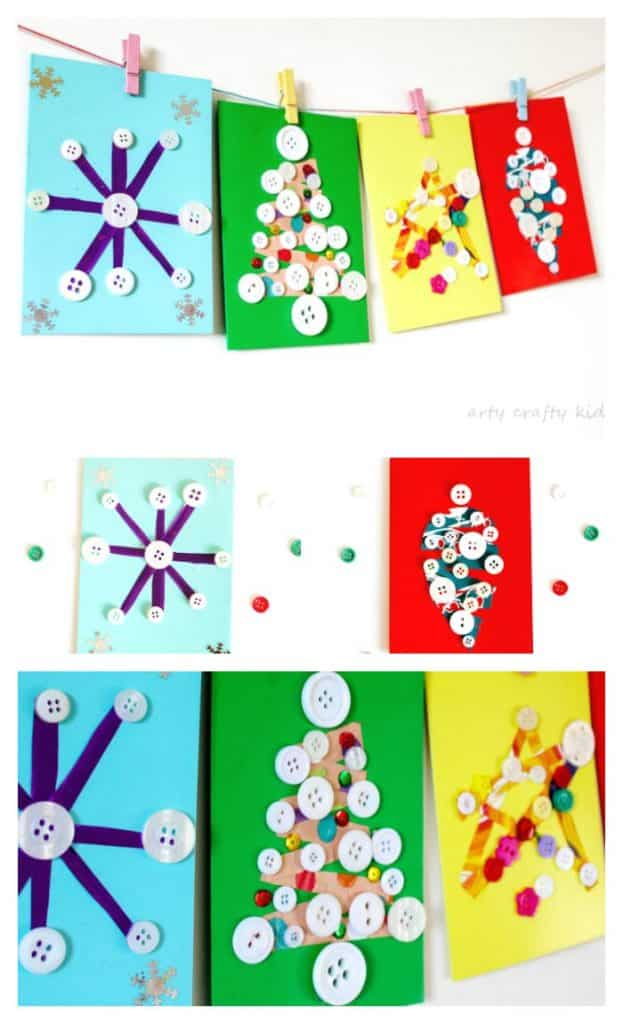 Arty Crafty Kids | Scrap Paper and Button DIY Christmas Cards - We all love a homemade Christmas Card at Christmas and these gorgeous card are easy and fun for kids to make.