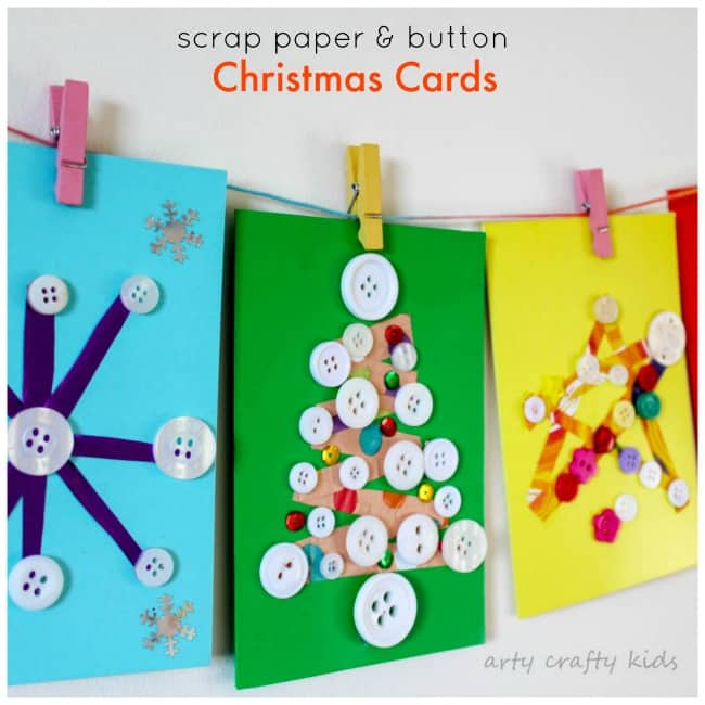 Arty Crafty Kids - Seasonal - Scrap Paper and Button DIY Christmas Cards