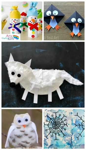 16 Winter Kids Crafts for Kids. Choose from a selection of Winter animals, to snowy Winter trees and gorgeous snowflake art projects for kids to make this season.