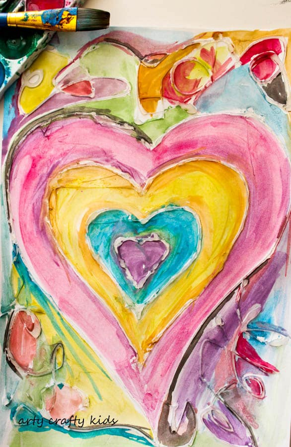 Arty Crafty Kids | Valentine's | Watercolour and Glue Heart Painting for Kids | A beautiful, unique and easy Heart art project for kids that's perfect for Valentine's Day.