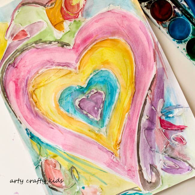 Arty Crafty Kids | Art | Watercolour and Glue Resist Heart Painting