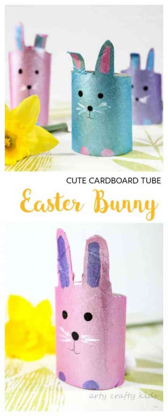 Easy easter bunny crafts - Arty Crafty Kids Craft Easter Easy Cardboard Tube Easter Bunny Craft