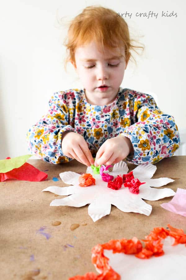 Arty Crafty Kids   Craft   Colourful Spring Paper Plate Flower Craft   A fun and simple Spring craft for kids. Toddlers and preschoolers will love the process of tearing, scrunching and sticking to make pretty paper plate flowers.