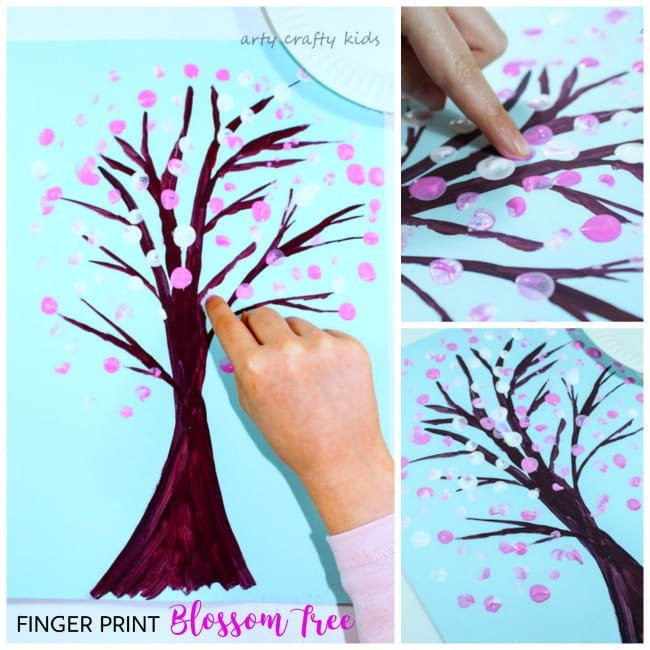 Arty Crafty Kids   Art   Spring Crafts for Kids   Finger Print Spring Blossom Tree