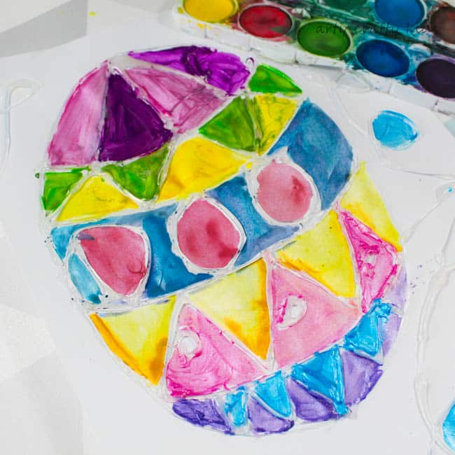 Glue Resist Watercolour Easter Egg