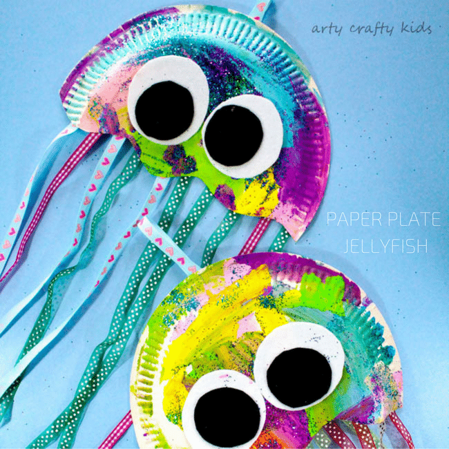 Arty Crafty Kids | Craft | Paper Plate Jellyfish Craft | Easy Jellyfish craft for kids  sc 1 st  Arty Crafty Kids : crafts from paper plates - Pezcame.Com