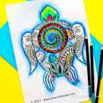 Arty Crafty Kids | Free Coloring Page for Adults and Kids | Moana Inspired Free Turtle Coloring Page