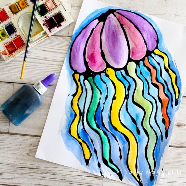Black Glue Jellyfish Art - Arty Crafty Kids