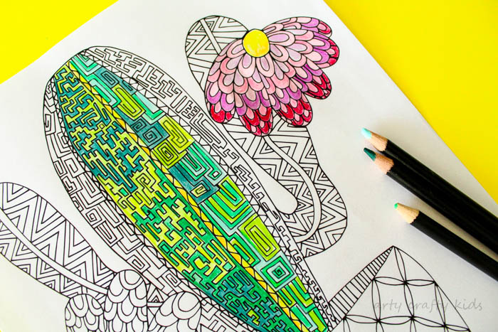 Cactus Coloring Page - Arty Crafty Kids