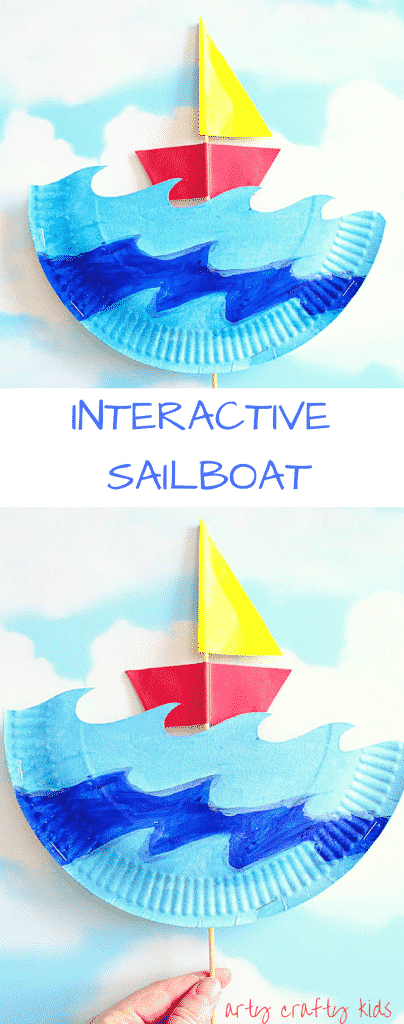Arty Crafty Kids | Craft | Interactive Paper Plate Sailboat Craft | A fun and engaging Summer Craft for Kids. Sail the paper plate seas with their twizzle boats.