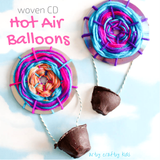 Arty Crafty Kids | Craft | Woven Hot Air Balloons | A simple fine motor weaving craft for kids, turning recycled CD's into Hot Air Balloons!