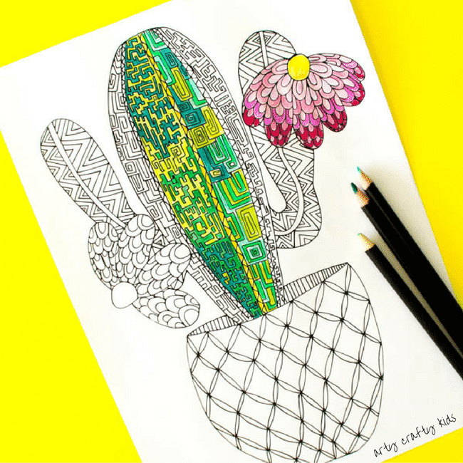 Arty Crafty Kids | Coloring Pages | Cactus Coloring Page | A free cactus coloring page for adults and kids!