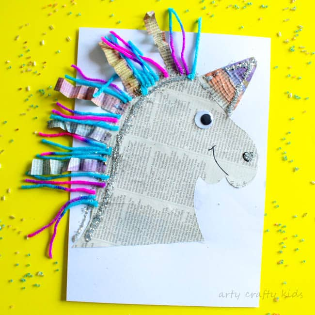 Mixed media paper unicorn craft arty crafty kids for Unicorn crafts for kids