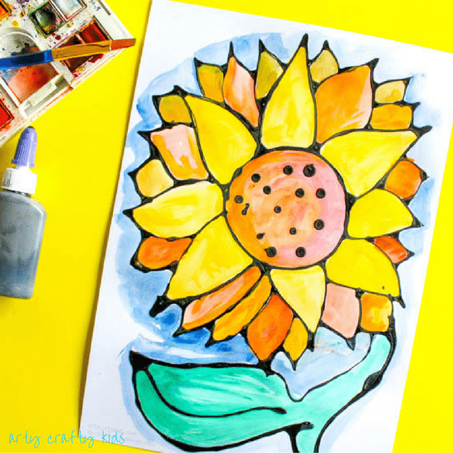 Arty Crafty Kids | Art | Black Glue Sunflower Art | A beautiful black glue sunflower art project for kids. Perfect for summer crafting.