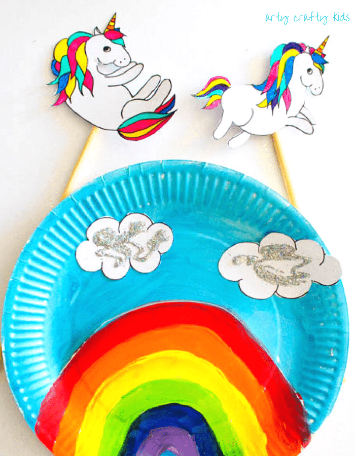 Over the rainbow paper plate unicorn puppets arty crafty for Unicorn crafts for kids