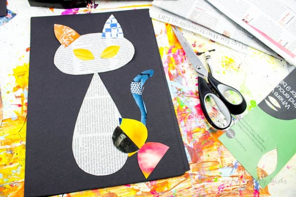 Arty Crafty Kids | Art | Cool Cat Newspaper Art Project for Kids | A fun recycled cat art project using recycled newspaper and magazines. With the help of a free template kids can make a cat that can strike multiple cool poses!