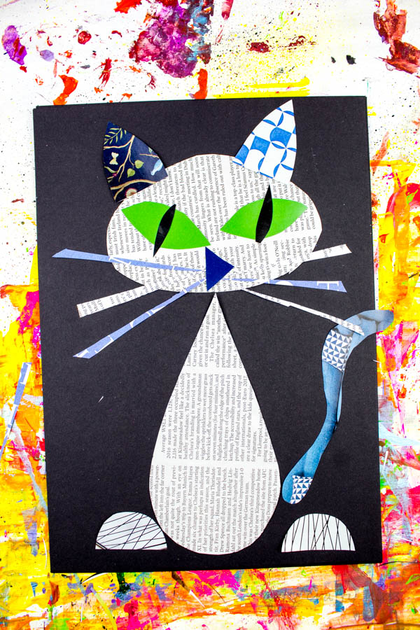 Cool Cat Newspaper Art Project for Kids - Arty Crafty Kids