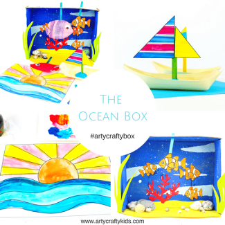 Arty Crafty Kids - The Arty Crafty Ocean Box - A monthly subscription box for Arty Crafty Kids, filled with playful, engaging and creative art and craft projects for kids! #artycraftybox #kidscraft #subbox #craftsforkids