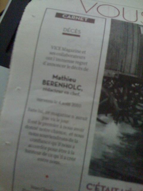 C'est dans le journal