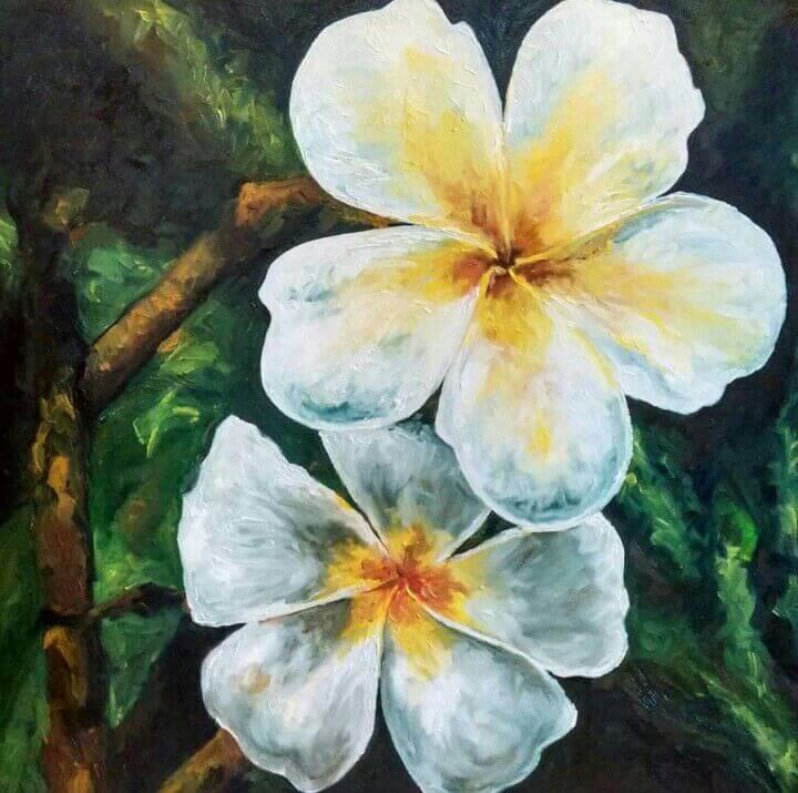 FLOWER PAINTING FIRANGIPANI ANTARAS GALLERY