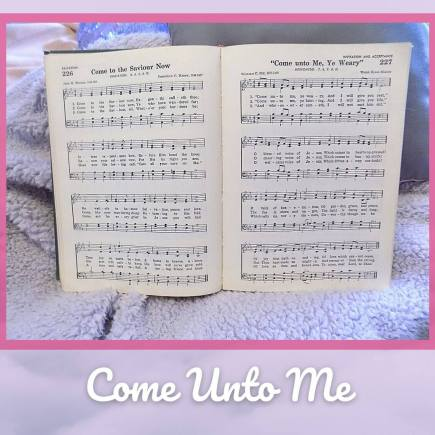 Come Unto Me All You Who Are Weary is represented through the hymn book open to our Monthly Melody