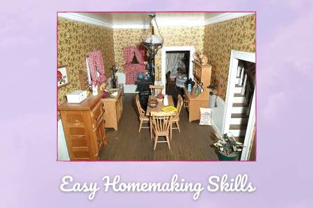 Picture of a miniature vintage kitchen that is labeled Easy Homemaking Skills
