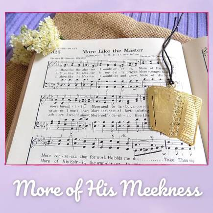 More Like the Master Picture of hymnal open to this song with gold accordion bookmark and pretty cream flowers