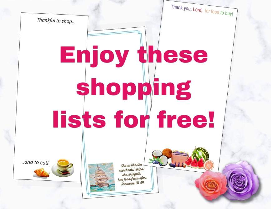 Enjoy these shopping lists for free!