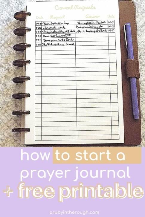 how to start a prayer journal pin shows prayer journal open