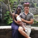 """Gage Dillon, his wife Neka and their son at a luau in Hawaii."""""""